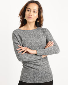 Utopia Cut n Sew Slouchy Top Charcoal