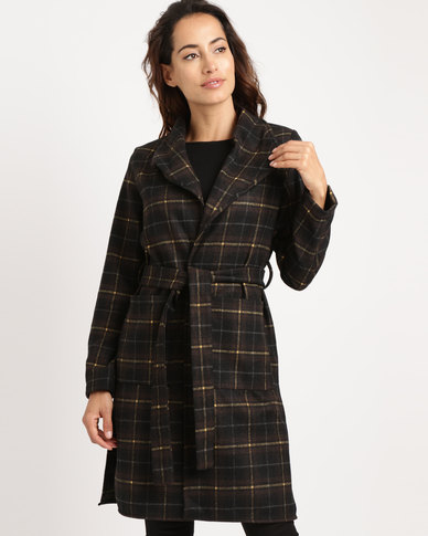 Utopia Check Coat Chocolate/Ochre