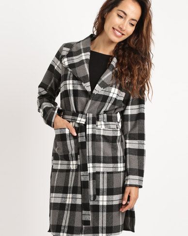 Utopia Check Coat Black/White