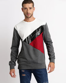 Utopia Colourblock Sweat Top Burgundy
