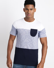 Utopia Colourblock Tee Navy/White