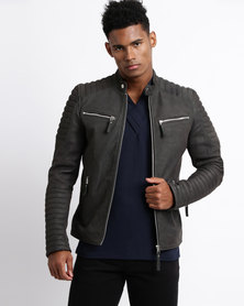 Issa Leo Suede Billy J Sport Leather Jacket Olive