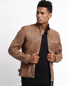 Issa Leo Classic Leather Jacket Rust Brown