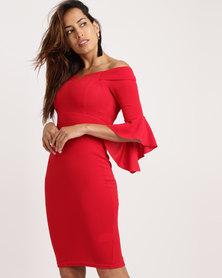 AX Paris 3/4 Sleeve Notch Dress Red