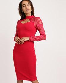 AX Paris Lace Long Sleeve Midi Dress Red