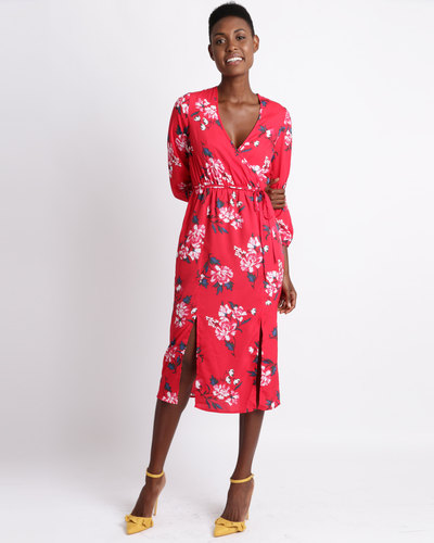 b8f07121f59 AX Paris Floral Long Sleeve Frill Dress Red | Zando