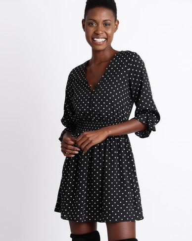 London Hub Fashion Polka Dot Button Detail V Neck Dress Black