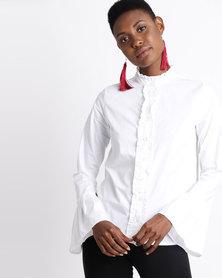 London Hub Fashion Ruffle Seam Pleated Sleeve Shirt White