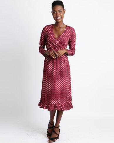 d59eb7dde42f London Hub Fashion Polka Dot Ruffle Back Wrap Midi Dress Wine