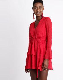 London Hub Fashion Sheer Bell Sleeve Tier Skirt Tie Dress Red