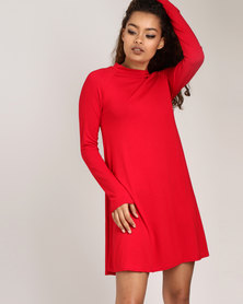 London Hub Fashion High Neck Skater Dress Red