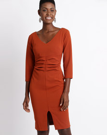 City Goddess London V Neck Pleated Midi Dress with Split Detail Rust