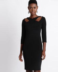 City Goddess London Cross Over Midi Dress Black