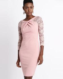 City Goddess London Pleated Midi Dress with Lace Sleeves Blush