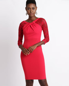 City Goddess London Pleated Midi Dress with Lace Sleeves Red