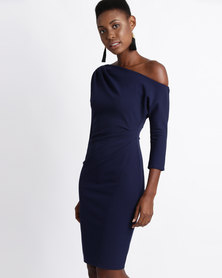 City Goddess London One Shoulder Pleated Midi Dress with Sleeves Navy