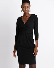 City Goddess London Pleated Fitted Pleated Midi Dress Black