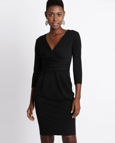 City Goddess London Pleated Fitted Pleated Midi Dress Black  d8fad4222d16