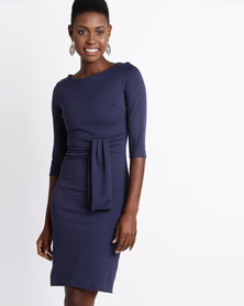 City Goddess London Pencil Dress with a Tie Detail Navy