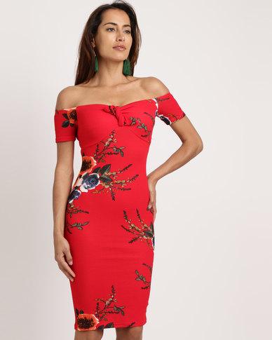 85a8cc78c4cb AX Paris Floral Off The Shoulder Midi Dress Red
