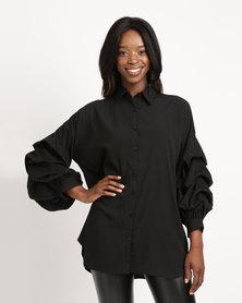 AX Paris Ruffle Sleeve Shirt Black