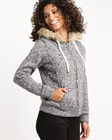Utopia Hoodie With Sherpa Lining Grey Melange