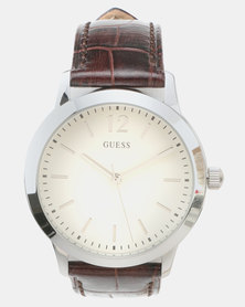 Guess Exchange OD Strap Watch Brown & Silver-Tone