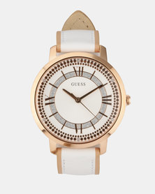 Guess Leather Strap Watch White