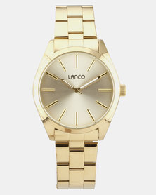 Lanco Sunray Dial With Gold Strap Watch