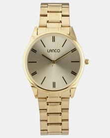 Lanco Gold Strap With Cufflinks Watch