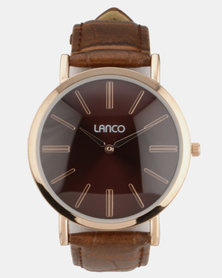 Lanco Brown Dial With Brown Croco Strap Watch