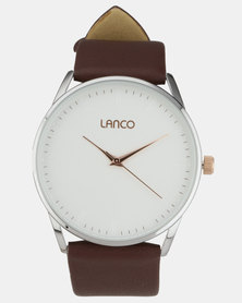 Lanco White Dial With Brown Strap Watch