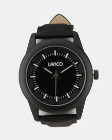 Lanco Black Synthetic Strap Watch