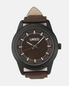 Lanco Synthetic Strap Watch Brown