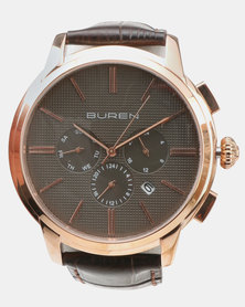 Buren Leather Strap Round Watch Rose Gold-plated