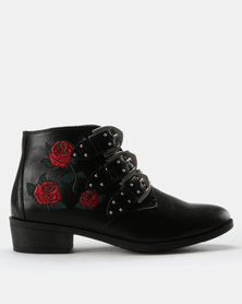 London Hub Fashion Embroidered Ankle Boots Black