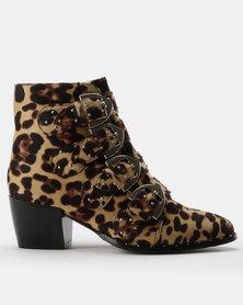 London Hub Fashion Western Stud Trim Ankle Boots Leopard