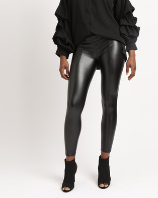 AX Paris Wet Look Leggings Black