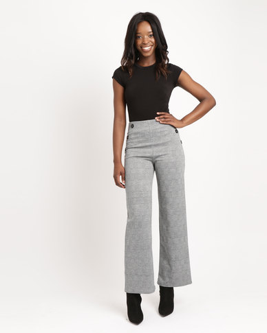 AX Paris Check Flared Trousers Black