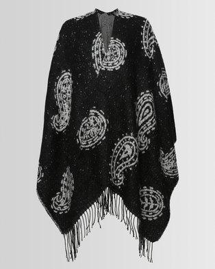 e580e2cc452f9 London Hub Fashion Boucle Paisley Reversible Wrap Black/White