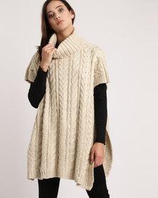 London Hub Fashion Fancy Cable Knit Tabard Polo Neck Beige