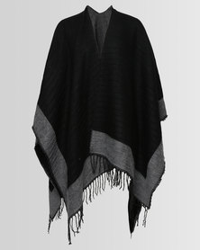 London Hub Fashion Pleat Acry Wrap With Border & Fringe Multi