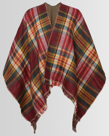 London Hub Fashion Reversible Boucle Check & Tweed Effect Wrap Multi