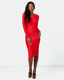 AX Paris Ruched Wrap Dress Red