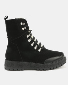 London Hub Fashion Lace Up Ankle Boots Black Suede