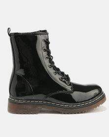 London Hub Fashion Lace Up Boots Black Patent