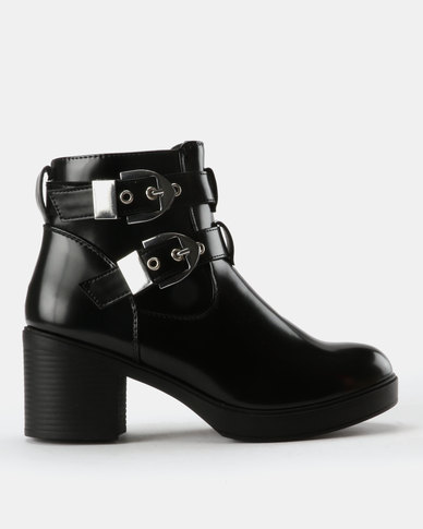 London Hub Fashion London Hub Fashion Heeled Buckle Ankle Boots Black best place cheap online cheap sale classic largest supplier outlet sale 100% original for sale aHOQM996hq