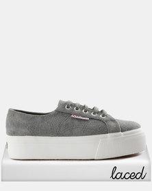 Hairy Suede Full Wedge Sneakers Grey/Sage