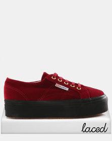 Velvet Full Wedge Sneakers Dark Red
