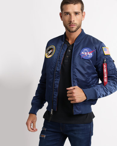 big discount sale super quality unique style Alpha Industries MA-1 VF NASA Bomber Ocean Blue